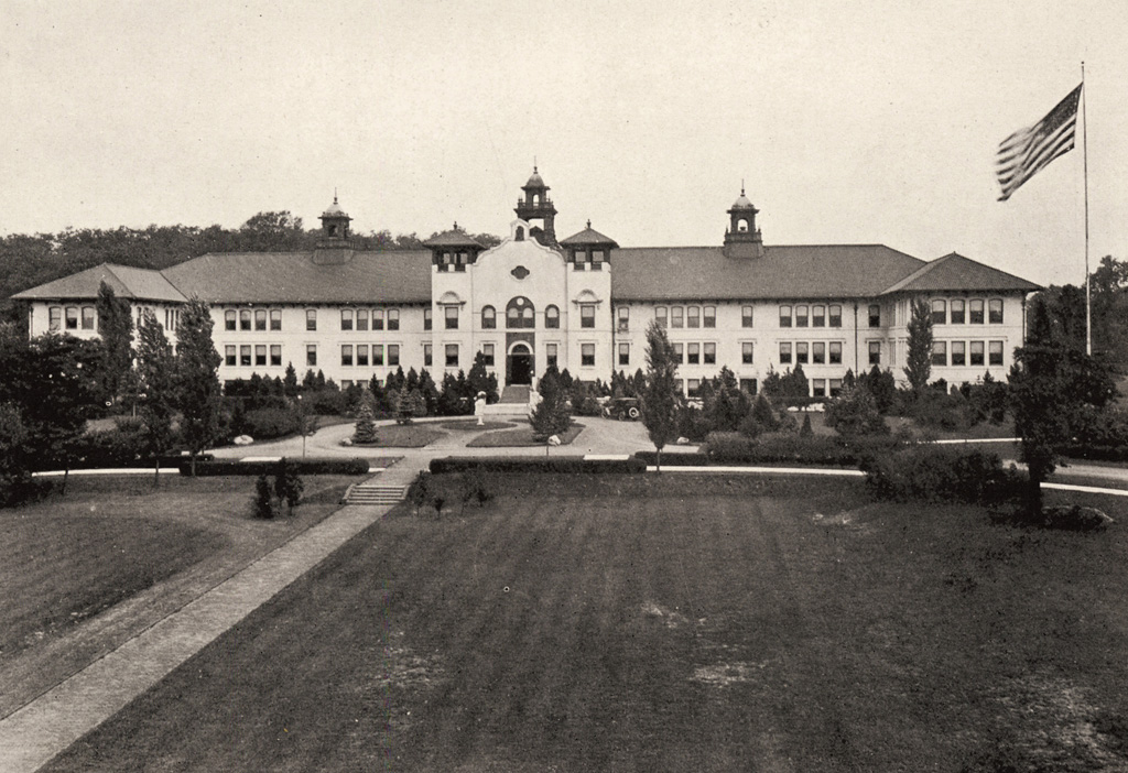 "College Hall, 1926. The original structure of the SNS at Montclair, finished in 1908. The architect is unknown; the building is attributed to the Architects Office of the state's ""Department of Charities and Correction""."
